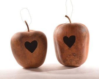 Two (2)  Apple Gourd Birdhouses with Heart Entrance; Bird house gourds; Natural gourds