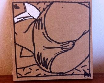 Dessin original, original artwork, erotic woman lingerie sexy sur carton