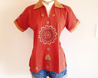 Ethnic Hippie Festival Top with Mirror Work