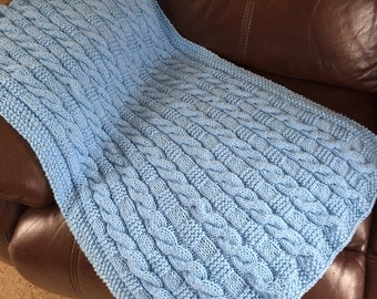 Pale Blue Hand Knit Cable Baby Blanket