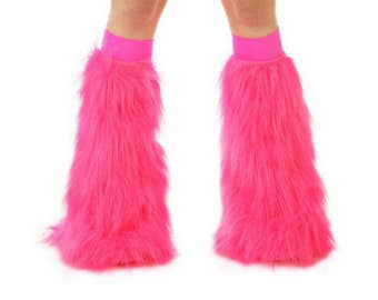 Hot Pink Rave Fluffies - Fluffy Leg Warmers - Furry Boot Covers - Long Pile Faux Fur Hot Pink Fluffies