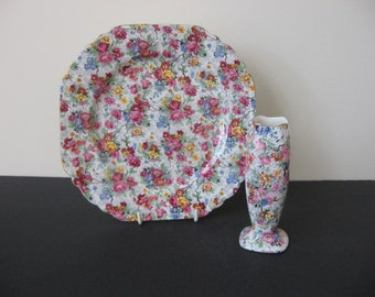 """Vtg Lord NELSON WARE """"MARINA"""" Chintz Square Plate and Bud Vase Set"""
