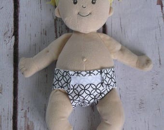 Doll Diaper-Handmade Diaper fits Baby Stella, Pottery Barn Doll other dolls-Black and White Circle print diaper-Great for pretend play