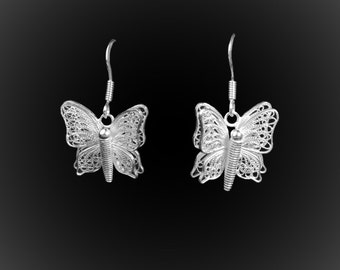 Butterfly earrings with silver embroidery