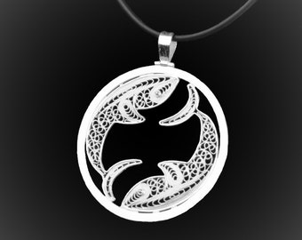 Embroidery of silver fish pendant