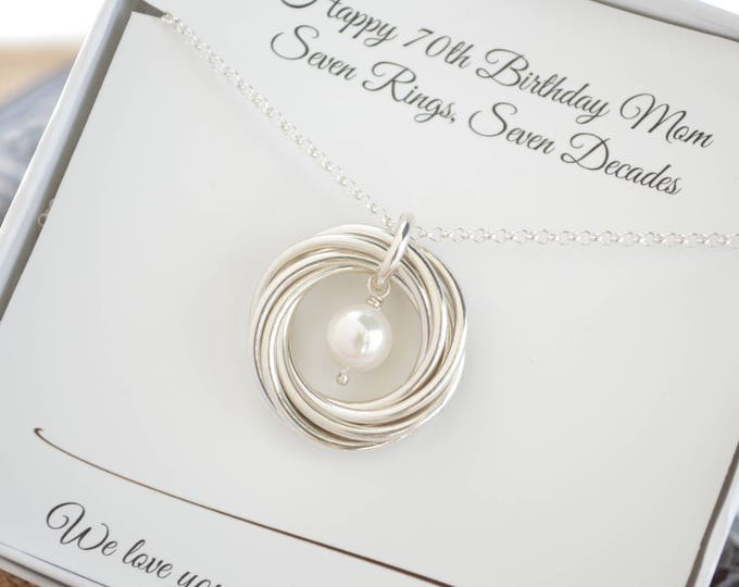 70th Birthday gift for  mom and grandmother necklace, June Birthstone necklace, Jewelry for mother,  7th Anniversary gift for wife, Pearl