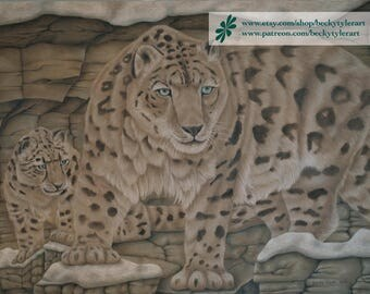 Snow Leopards Original Drawing