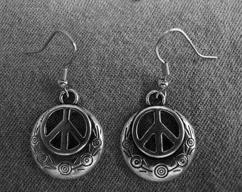 Beautiful pair of Silver Earrings with Large Peace Sign and Hypoallergenic Surgical Steel Ear Wires