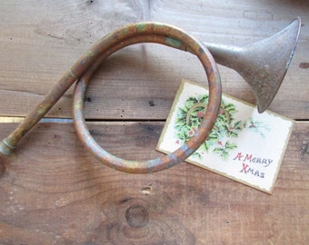 Hunting Horn Vintage Decorative Christmas Decor Copper or Brass