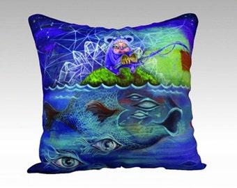 Artist Throw Pillow - phresha pillow, cosmic sea pillow, nautical pillow, velveteen pillow, surreal art, home decor, designer pillow