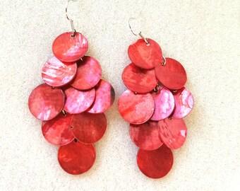 Red Waterfall Chandelier Earrings