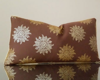 Decorative Pillow Cover - Lumbar pillow, Brown medallion Metallic  Lumbar pillow cover - Metallic pillow - Fabric both sides