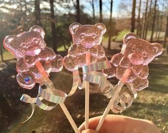 Strawberry Bear Lollipops Pink 12, Wedding Favors, Anniversary Favors, Baby Shower Favors, Bear Favors, Bridal Favors, Valentines, Teddy Bea