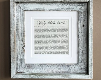 Wedding Vows, Wedding Vow Art, Wedding Vow Wall Art, Wedding Vows Print, Wedding Date Art: Printed Wedding Vows with Wedding Date