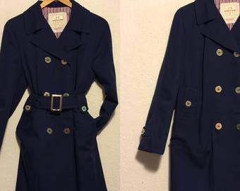Vintage Dark Blue Double Breasted, Belted Trench Coat