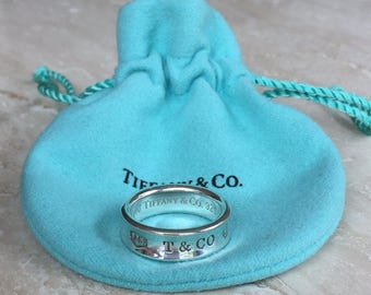 "Exquisite 1997 TIFFANY & CO 925 (Sterling Silver) ""1837"" Ring Retired Weight is 8 grams and Size 7.75"