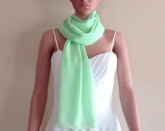 Mint Green  Long Scarf. Mint Green Wrap Scarf. Soft Chiffon Scarf. Mint Green Shawl.