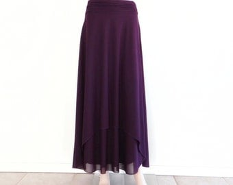 Purple Maxi Skirt. Purple Bridesmaid Skirt. Long Evening Skirt. Purple Floor Length Skirt.