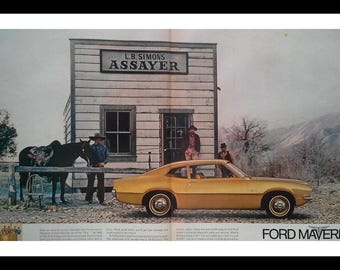 Ford Maverick - Gold; a favorite.  2 page spread Original 69/70 compact classic.   'Gold Rush' wild west theme.  14 x 10 Ready Frame