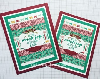Stampin' Up! Christmas/Winter/Holiday Cards, Set of 2- Emerald Envy, Cherry Cobbler, Gold- Washi Christmas