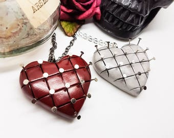 Hellraiser necklace, pinhead necklace, horror necklace, cenobites, red heart necklace, white heart necklace