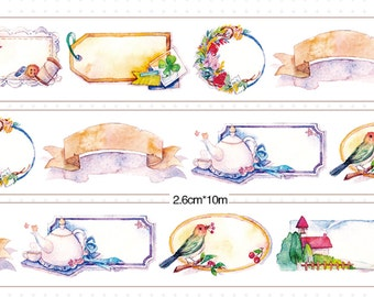 1 Roll of Limited Edition Washi Tape- Floral Frame Blank Label