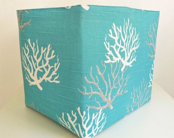 Extra Large Storage Basket Fabric Organizer in Coastal Blue Coral with Natural Canvas liner - Choose Size