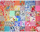 """SALE 15% off Liberty Fabric 48 Mini Charm Quilt Squares 2.5"""" Patchwork Quilting Floral Medium Bright Colours Liberty of London Tana Lawn"""