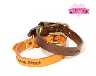 Laser Engraved Skinny Leather Bracelet Skinny Leather Band with Buckle Personalized Customized Engraving Skinny Leather Band. B051-PS