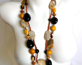 ON SALE 20% OFF Big Bold Chunky Necklace, Black Onyx, Bone, Wood, Fossil Coral, .925 Sterling Silver