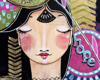Hope print of my original artwork mixed media collage vintage found papers acrylic painting portrait inspirational art colorful art home dec