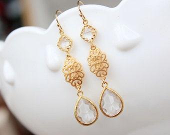 Gold Earrings - Crystal Clear Earrings - Filigree Dangle Earrings on Gold Filled Earwire - Bridesmaid Jewelry - Wedding Jewelry