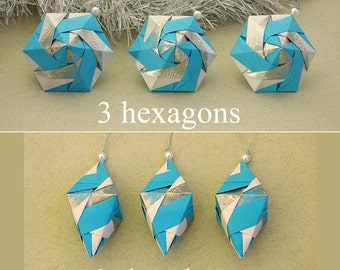 Set 3 or 6 Paper Ornaments - Christmas ornaments - New Year - Origami - Xmas tree decorations - holidays decor - winter - blue, white,silver