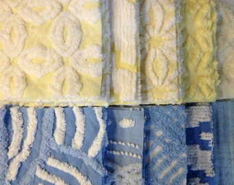 SALE...50 Yellow and Blue Vintage Chenille Six-inch Quilt Squares Kit