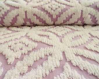 "SALE...Lavender Chenille Wedding Ring Vintage Bedspread Fabric...12 x 18"""