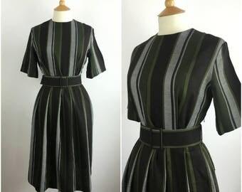 1940s Vintage Dress - 40s Green Striped Dress - Wool Blend Tea Dress - 40s Belted Day dress - Small / Medium - UK 10-12 / US 6-8 / EU 38-40