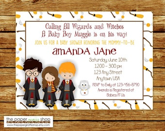 Harry Potter Baby Shower Invitation | Harry Potter Invitation | Witches and Wizards Invitation | Wizards Baby Shower | Harry Potter Invite