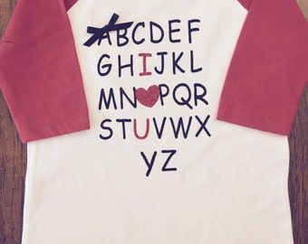 Baseball t-shirt- Girls Valentines Day T-shirts Alpabet vinyl letters- your choose of T-Shirts style.  So adorable for your little girl.