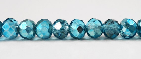 """Faceted Glass Rondelle Beads 6x4mm Half Transparent Turquoise Blue Half Metallic Blue Chinese Crystal Beads on a 9"""" Strand with 50 Beads"""