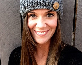 Crochet Gray Ear Warmer