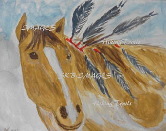 Native American Horse, DIGITAL PAINTING DOWNLOAD, native american art, horse with feathers, horse art, wall art, Fine Art Watercolor