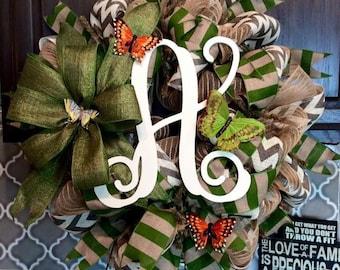 Monogram Spring Burlap Wreath