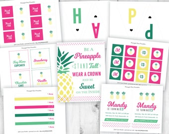 Pineapple Party Kit, Girls Birthday Party, Tropical Birthday Party, Hawaiian Invitation, Pineapple Banner, Summer Printables, Kids Party