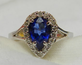 Vintage Sapphire Engagement Ring 18K Gold 1.21 Ct Carat Blue Sapphire Diamond Halo Engagement Ring Genuine Sapphire 18K White Gold Ring