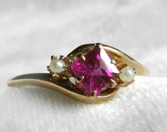 Victorian Ring Ruby Engagement Ring 14K Rose Cut Ruby Ring Seed Pearl Ring July Birthday Unique Engagement Ring July Birthday Gift for Women