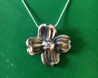 Fine Silver Dogwood Flower Necklace
