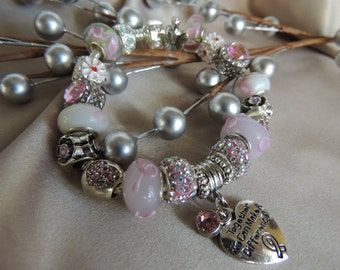 BREAST CANCER AWARENESS 18...Silver Charm Bracelet with European Style Beads...by TLCcharms