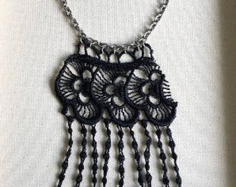 Gardenia // Black Lace Fringe Necklace // Statement Jewellry // Boho Chic