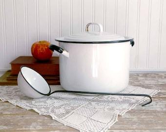 Vintage Enamel Pot with Lid, Vintage Enamel Ladle, White Enamel Cooking Pot, White Enamel Pot with Black Trim, Farmhouse Kitchen Decor