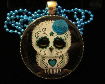 Sugar Skull Owl Necklace-Day of the Dead Owl-Owl Skull Jewelry-Handmade Resin Pendant Jewelry